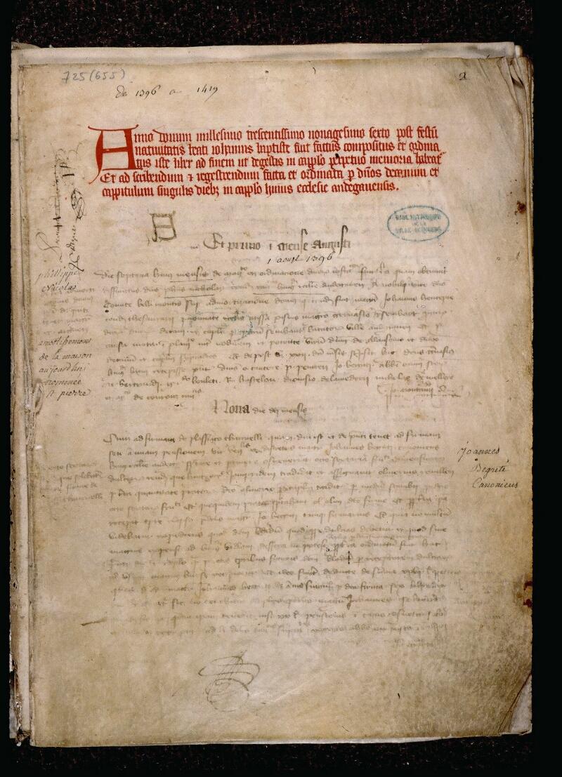 Angers, Bibl. mun., ms. 0725, p. 002 - vue 2