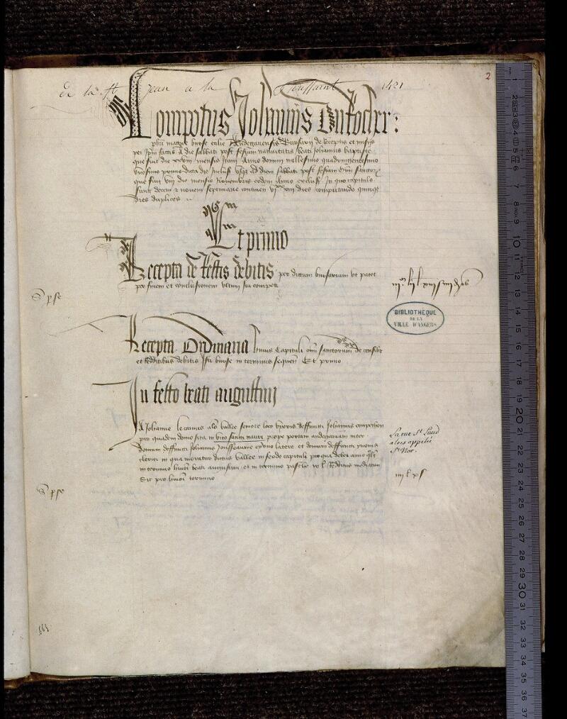 Angers, Bibl. mun., ms. 0739, f. 002 - vue 1