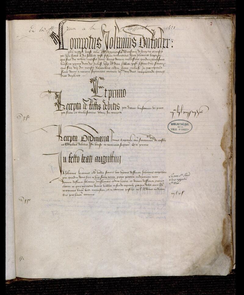 Angers, Bibl. mun., ms. 0739, f. 002 - vue 2
