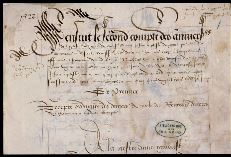 Angers, Bibl. mun., ms. 0751, f. 001 - vue 3