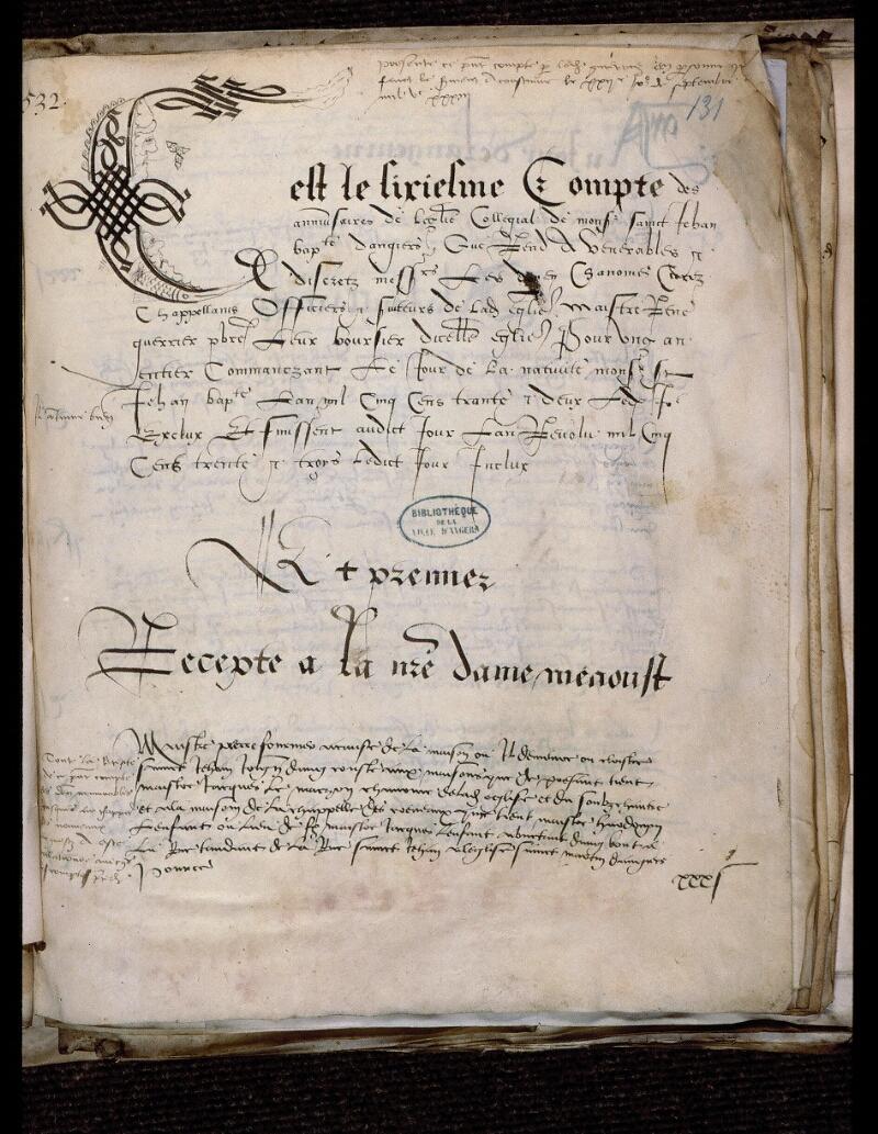 Angers, Bibl. mun., ms. 0751, f. 131 - vue 1