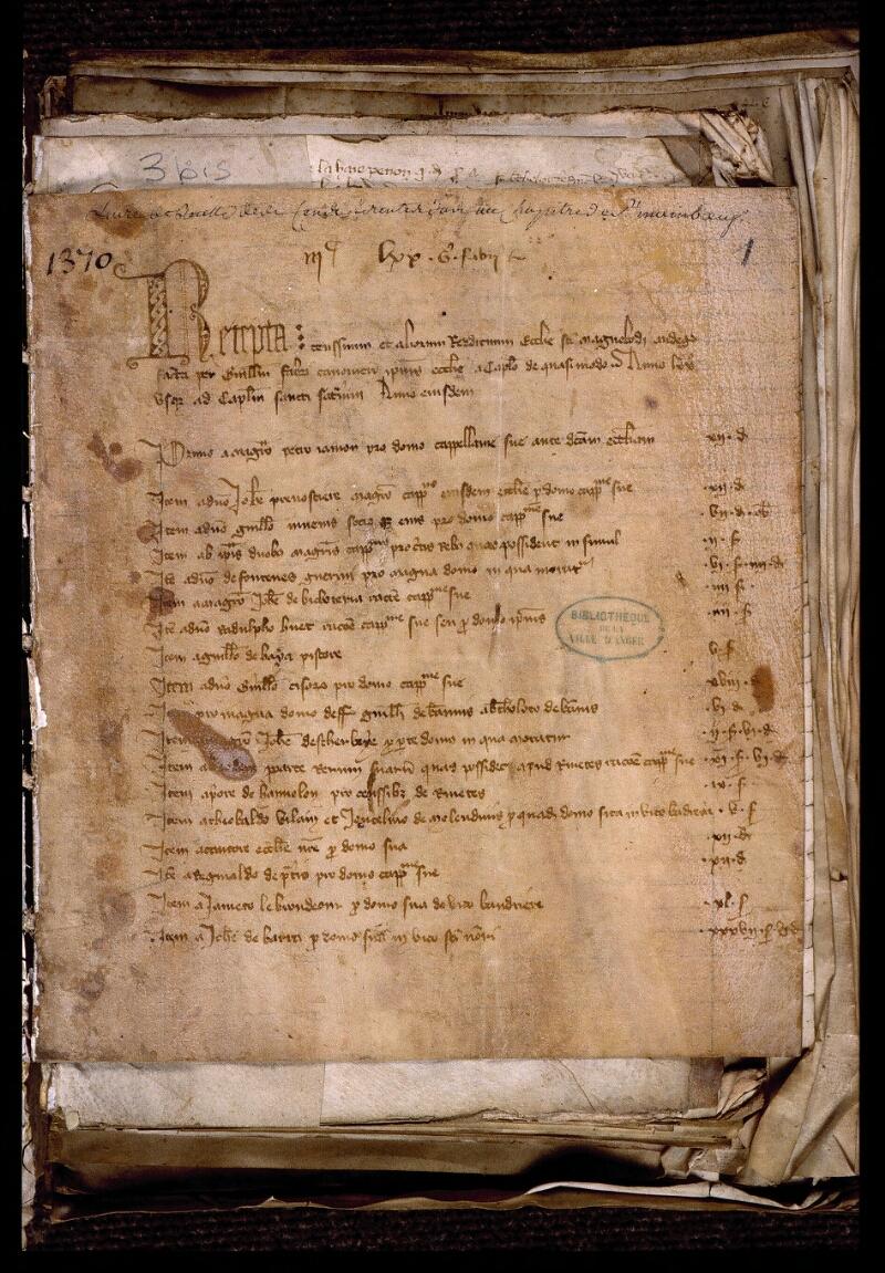 Angers, Bibl. mun., ms. 0769, f. 001 - vue 2