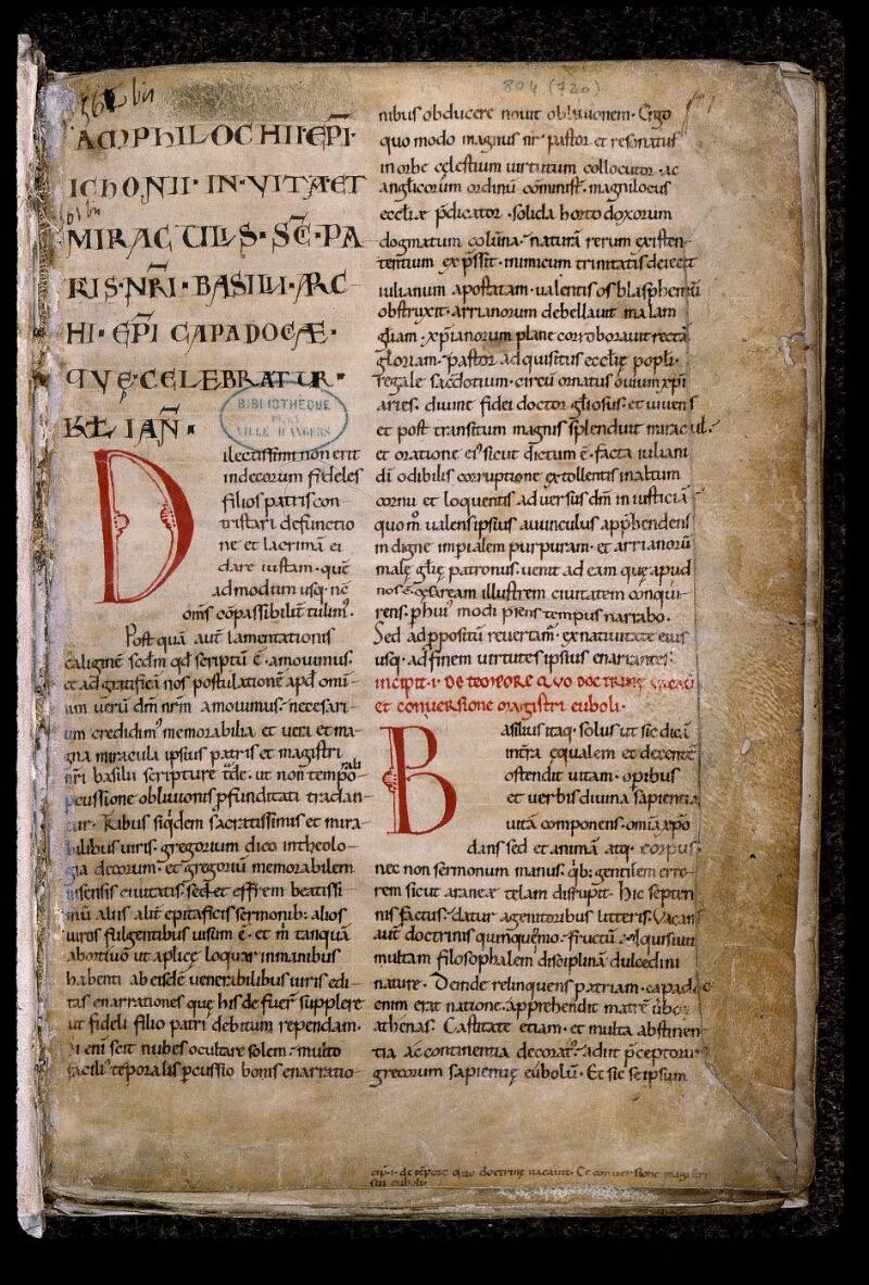 Angers, Bibl. mun., ms. 0804, f. 001 - vue 2