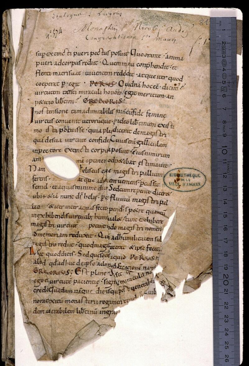 Angers, Bibl. mun., ms. 0810, f. 001 - vue 1
