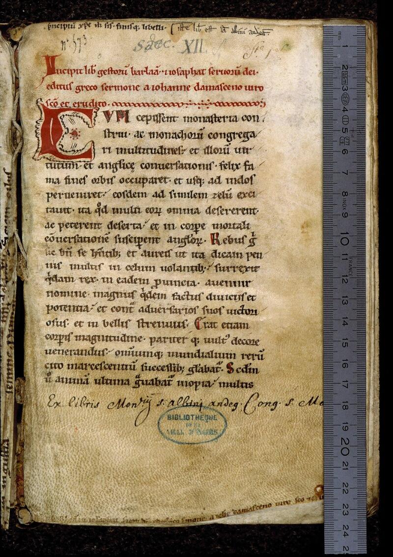 Angers, Bibl. mun., ms. 0816, f. 001 - vue 1