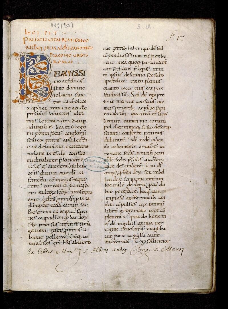 Angers, Bibl. mun., ms. 0819, f. 001 - vue 2