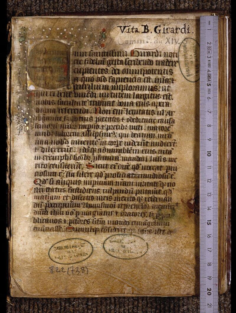 Angers, Bibl. mun., ms. 0822, f. 001 - vue 1