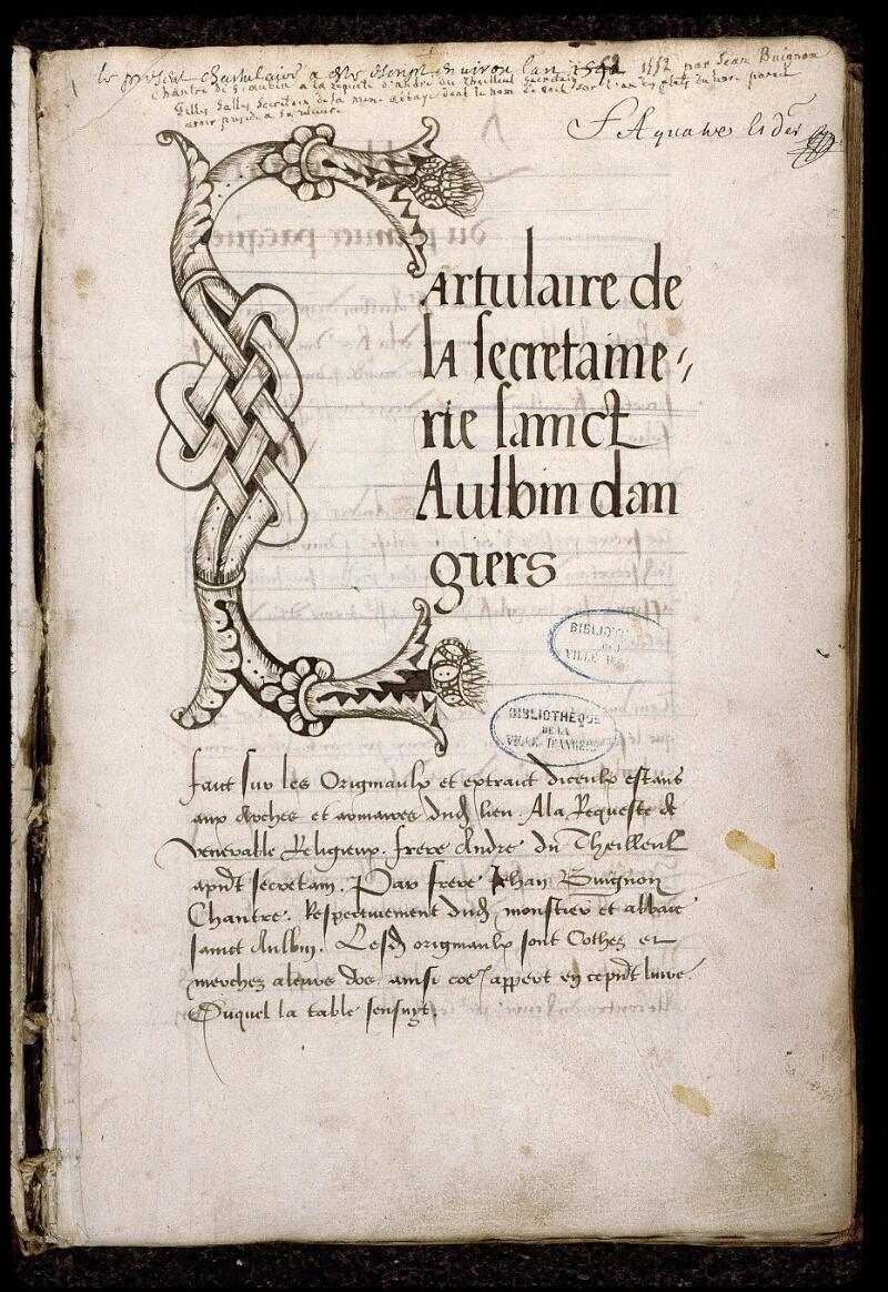 Angers, Bibl. mun., ms. 0832, f. 000I - vue 2