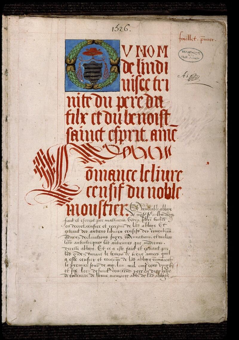 Angers, Bibl. mun., ms. 0833, f. 001 - vue 2