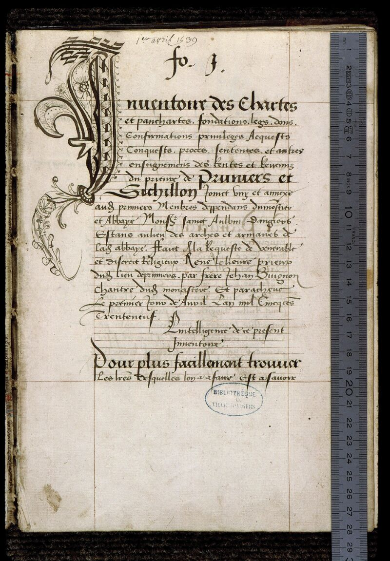 Angers, Bibl. mun., ms. 0834, f. 001 - vue 1