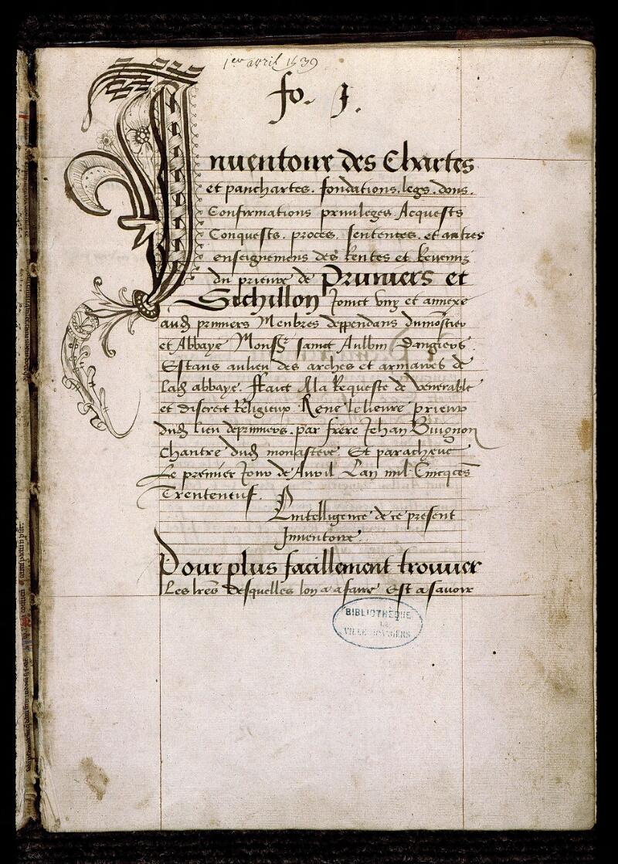 Angers, Bibl. mun., ms. 0834, f. 001 - vue 2