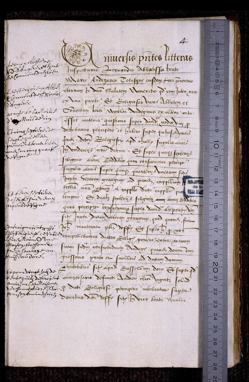 Angers, Bibl. mun., ms. 0839, f. 004 - vue 1