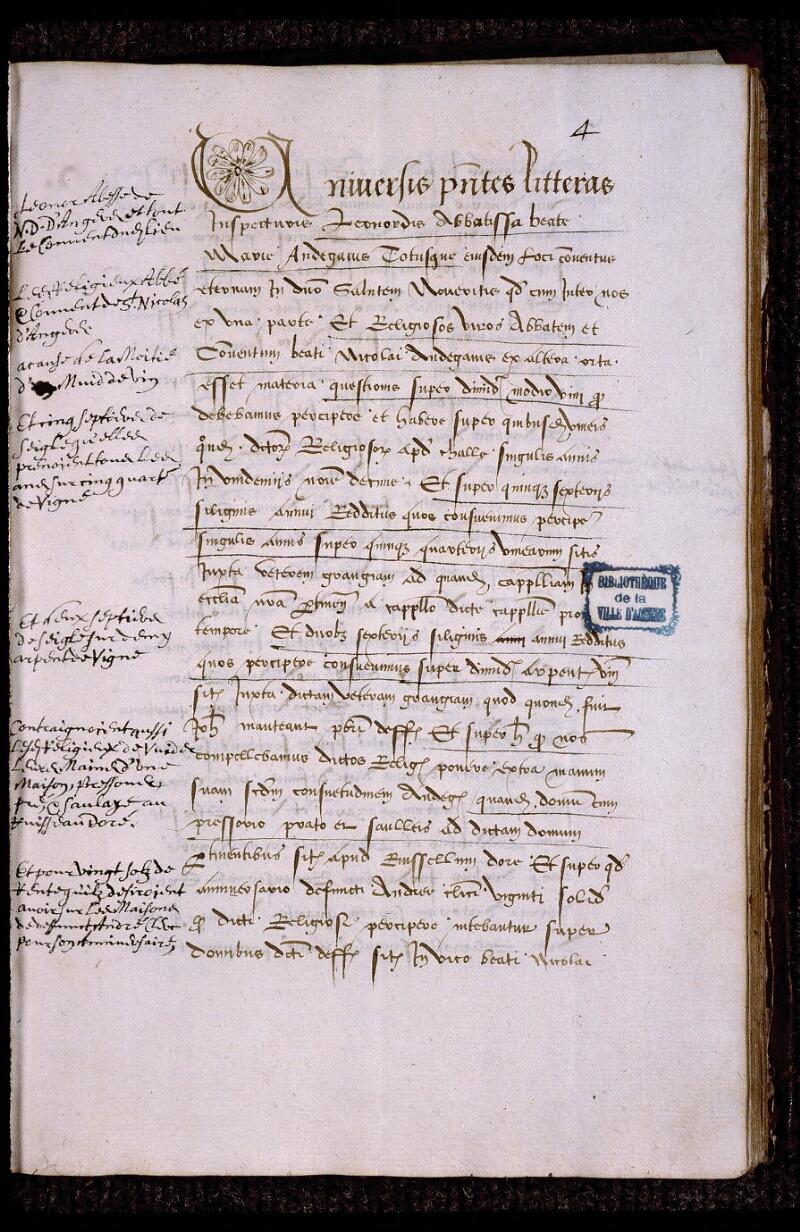 Angers, Bibl. mun., ms. 0839, f. 004 - vue 2