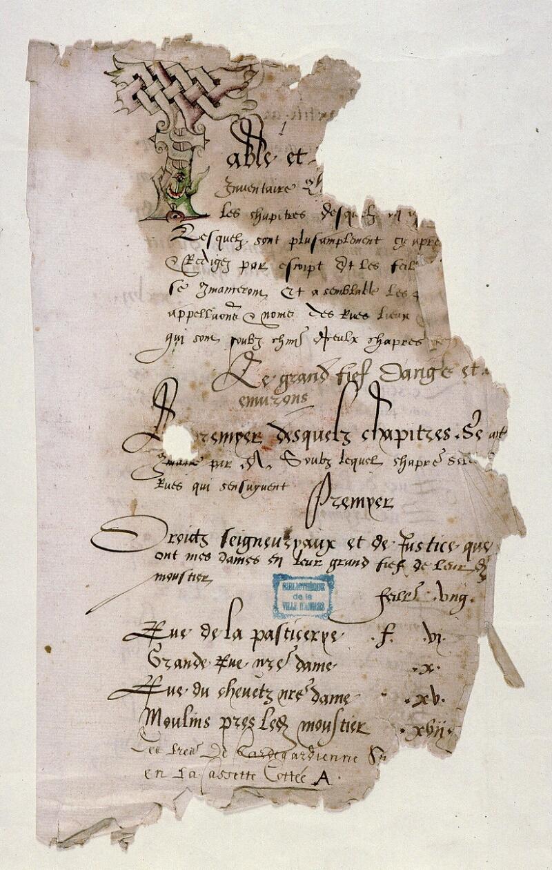 Angers, Bibl. mun., ms. 0851, f. 001 - vue 2