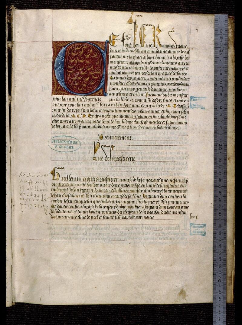 Angers, Bibl. mun., ms. 0853, f. 002 - vue 1