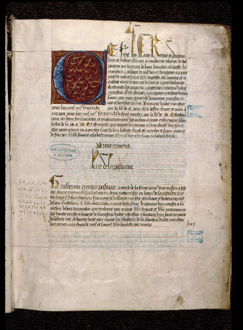 Angers, Bibl. mun., ms. 0853, f. 002 - vue 2