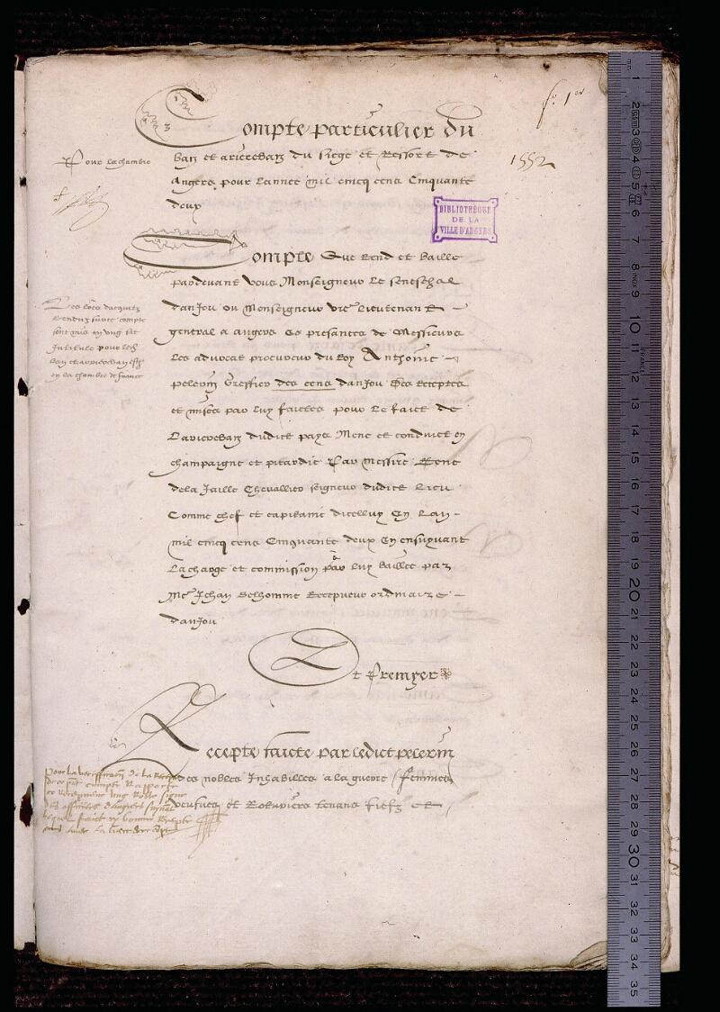 Angers, Bibl. mun., ms. 1185, f. 001 - vue 1