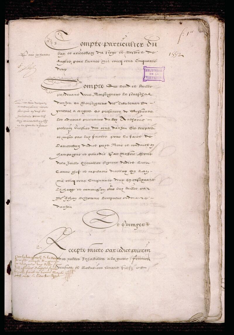 Angers, Bibl. mun., ms. 1185, f. 001 - vue 2