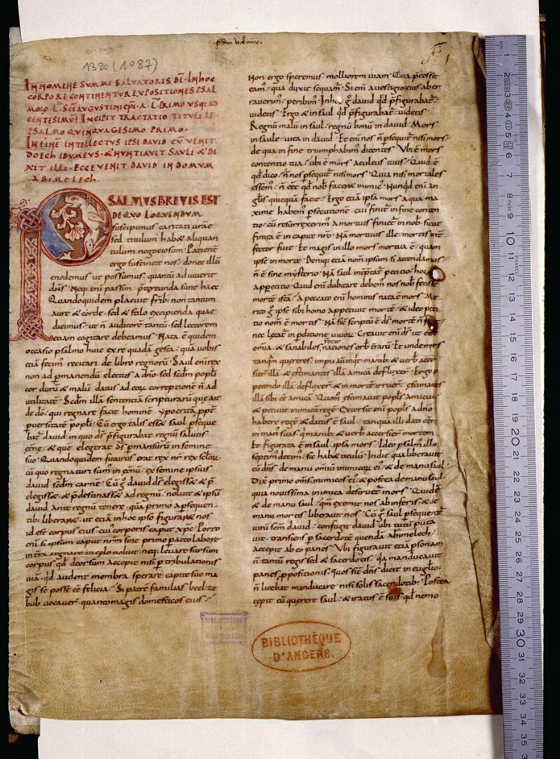 Angers, Bibl. mun., ms. 1320, f. 001 - vue 1