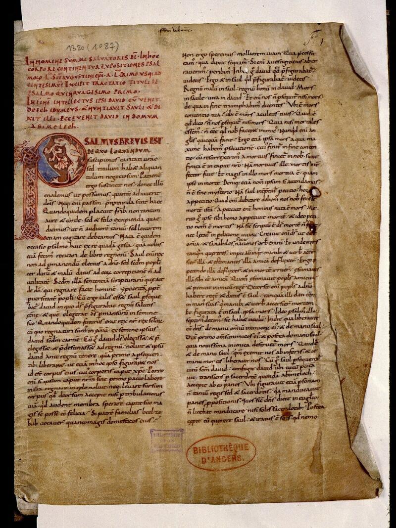 Angers, Bibl. mun., ms. 1320, f. 001 - vue 2