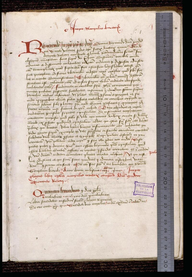 Angers, Bibl. mun., ms. 1321, f. 001 - vue 1
