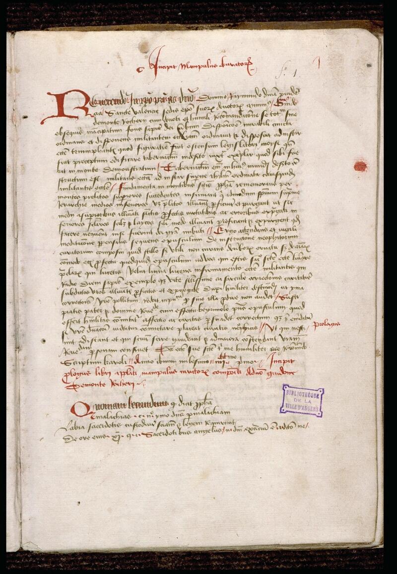 Angers, Bibl. mun., ms. 1321, f. 001 - vue 2