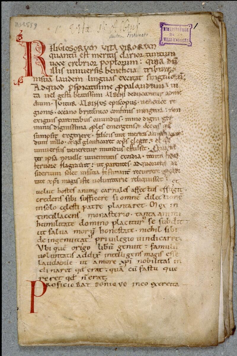 Angers, Bibl. mun., ms. 1559, f. 001 - vue 2