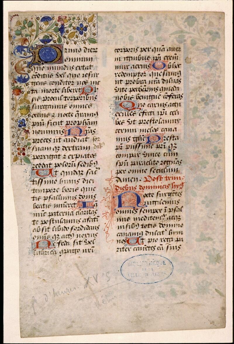 Angers, Bibl. mun., ms. 1901, n° 14, f. 001v