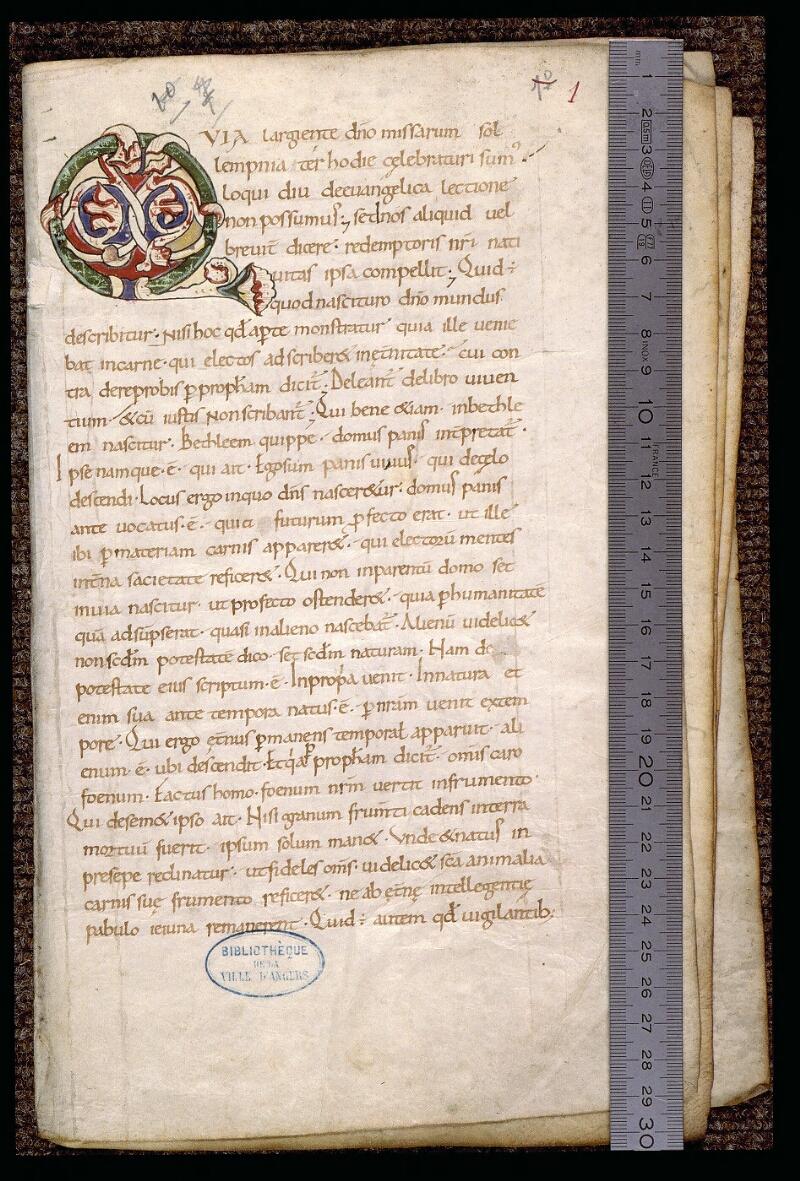 Angers, Bibl. mun., ms. 1902, n° 1, f. 001 - vue 1