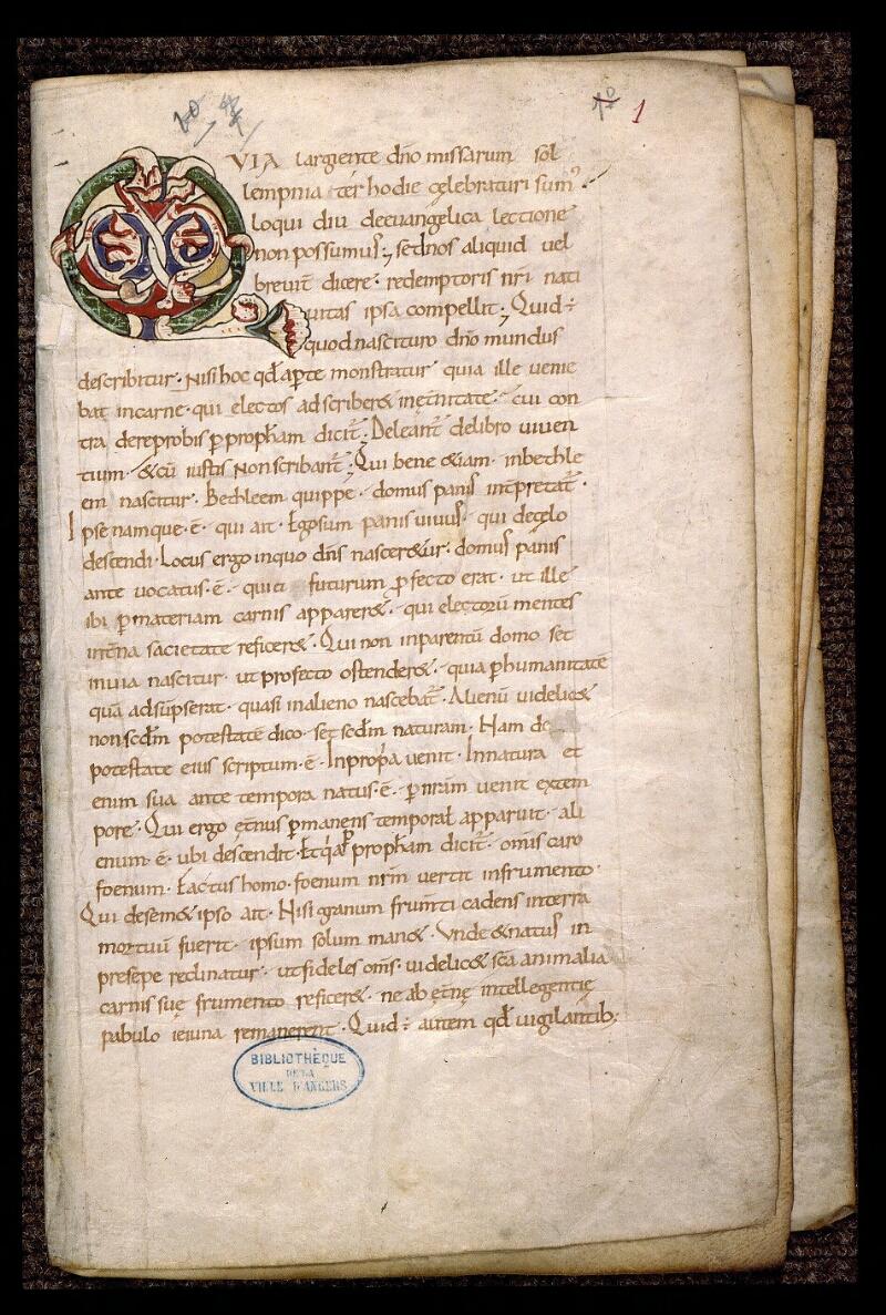 Angers, Bibl. mun., ms. 1902, n° 1, f. 001 - vue 2