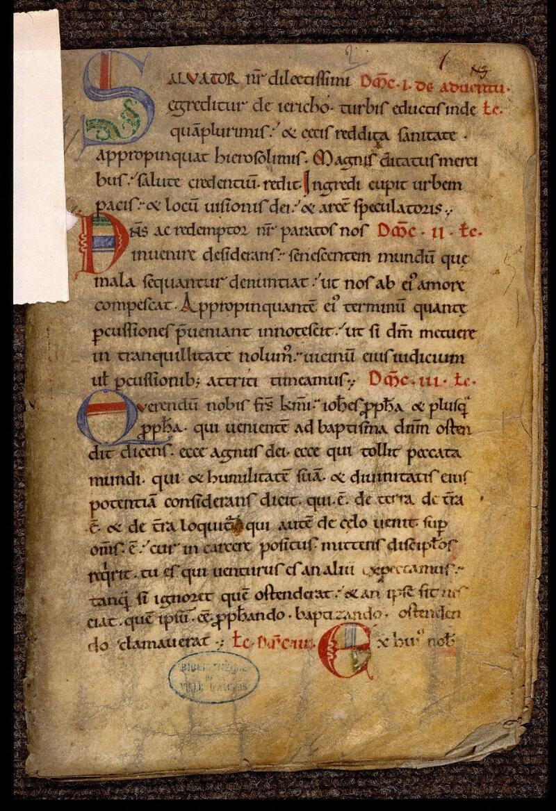 Angers, Bibl. mun., ms. 1902, n° 2, f. 001 - vue 2