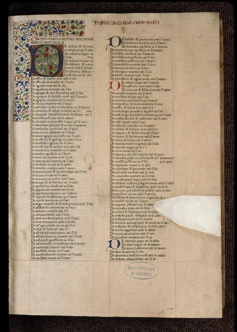 Angers, Bibl. mun., B 3258, t. II, f. 001 - vue 2
