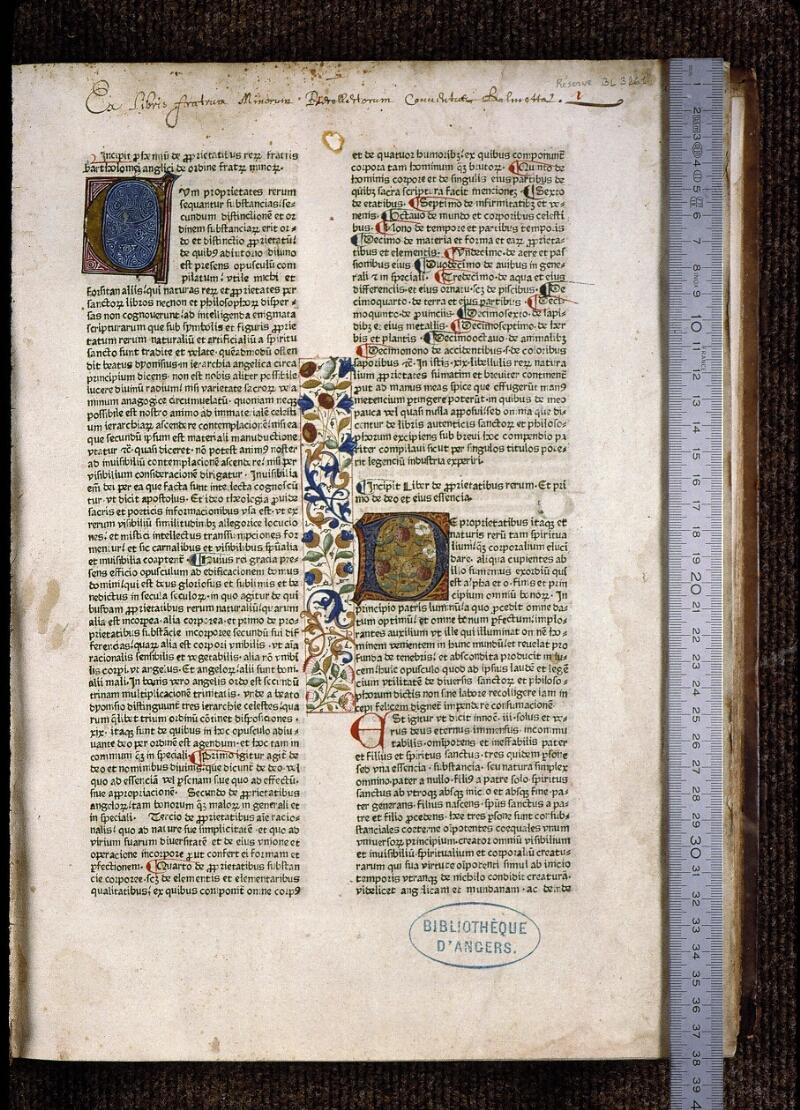 Angers, Bibl. mun., B 3261, f. 001 - vue 1