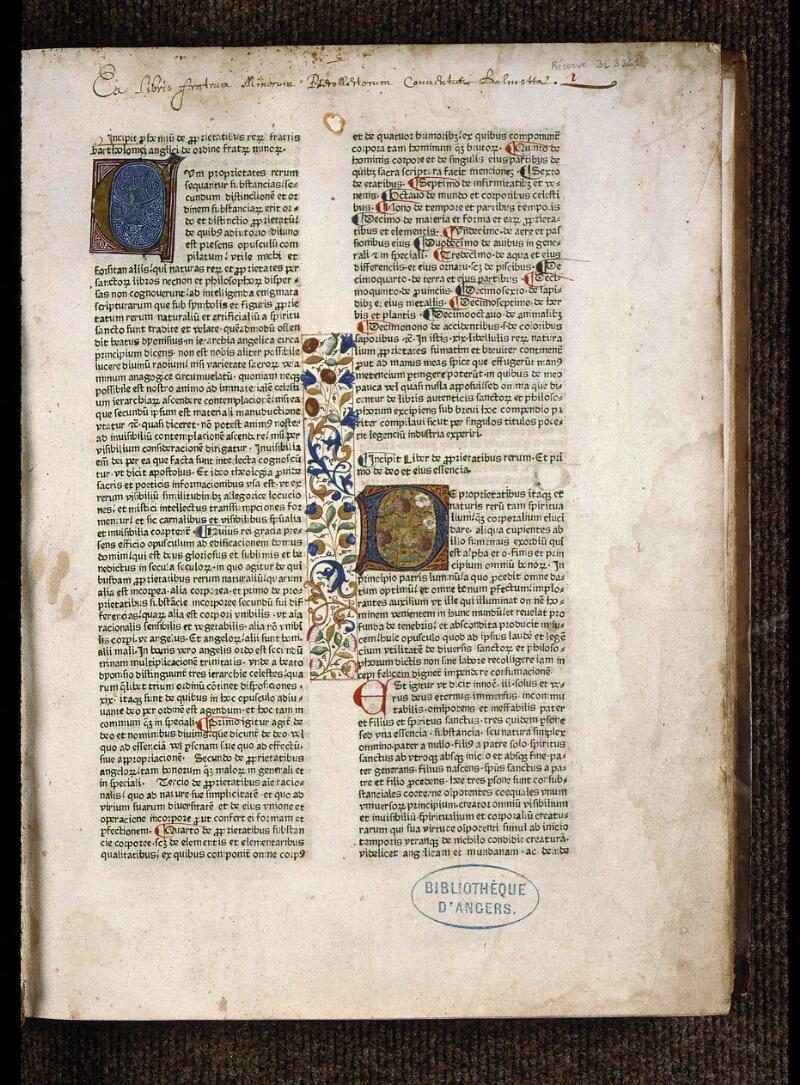 Angers, Bibl. mun., B 3261, f. 001 - vue 2