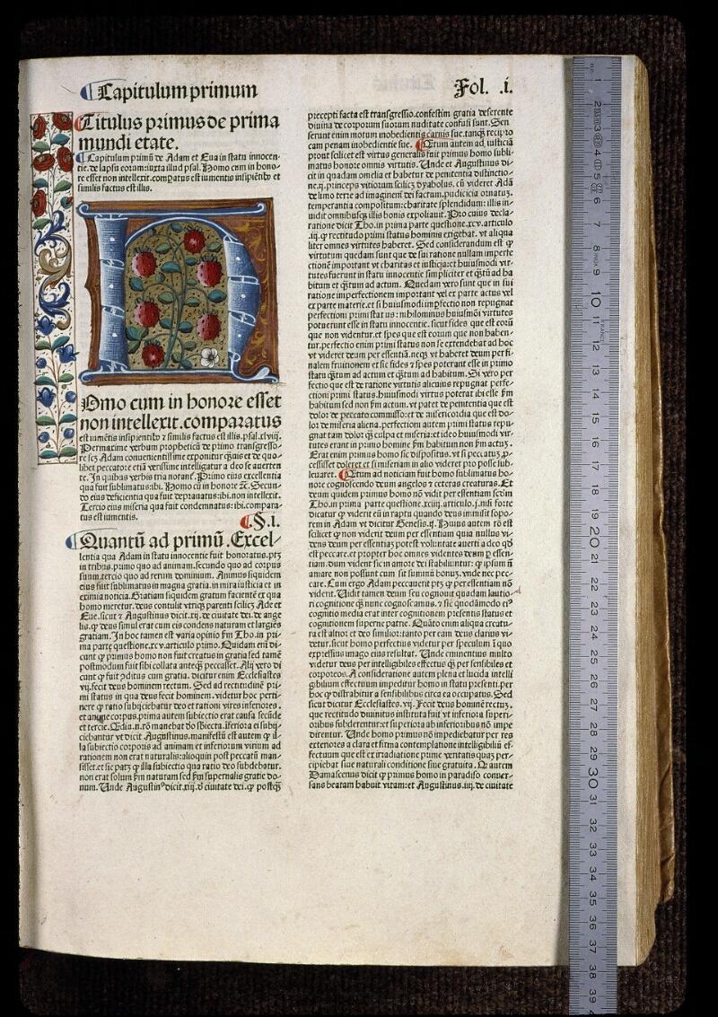 Angers, Bibl. mun., H 0724, t. I, A f. 001 - vue 1
