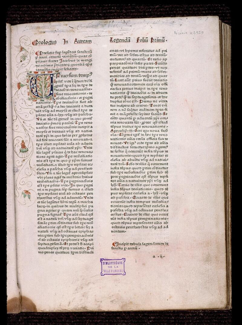 Angers, Bibl. mun., H 2959, f. 001 - vue 2