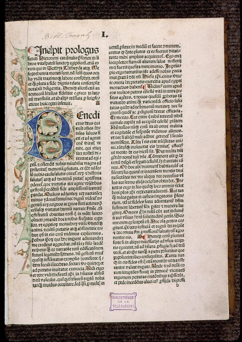 Angers, Bibl. mun., H 3024, f. 001 - vue 2