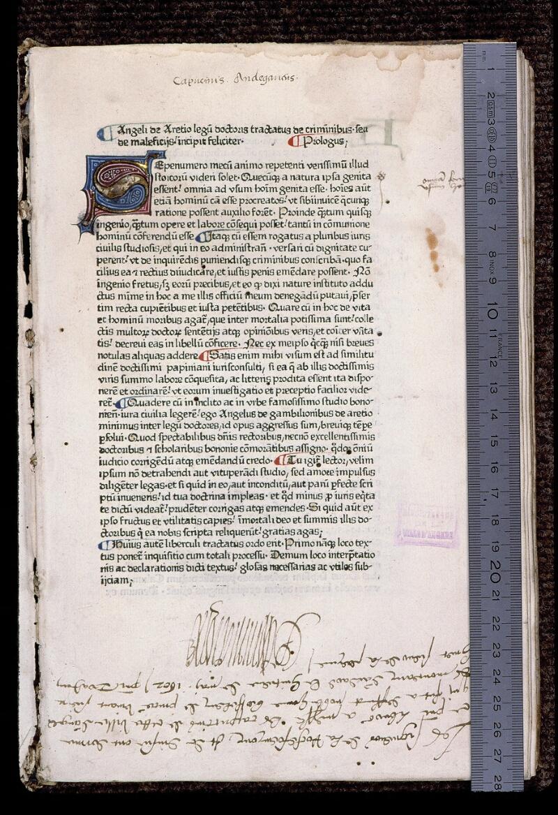 Angers, Bibl. mun., J 1161, f. 001 - vue 1