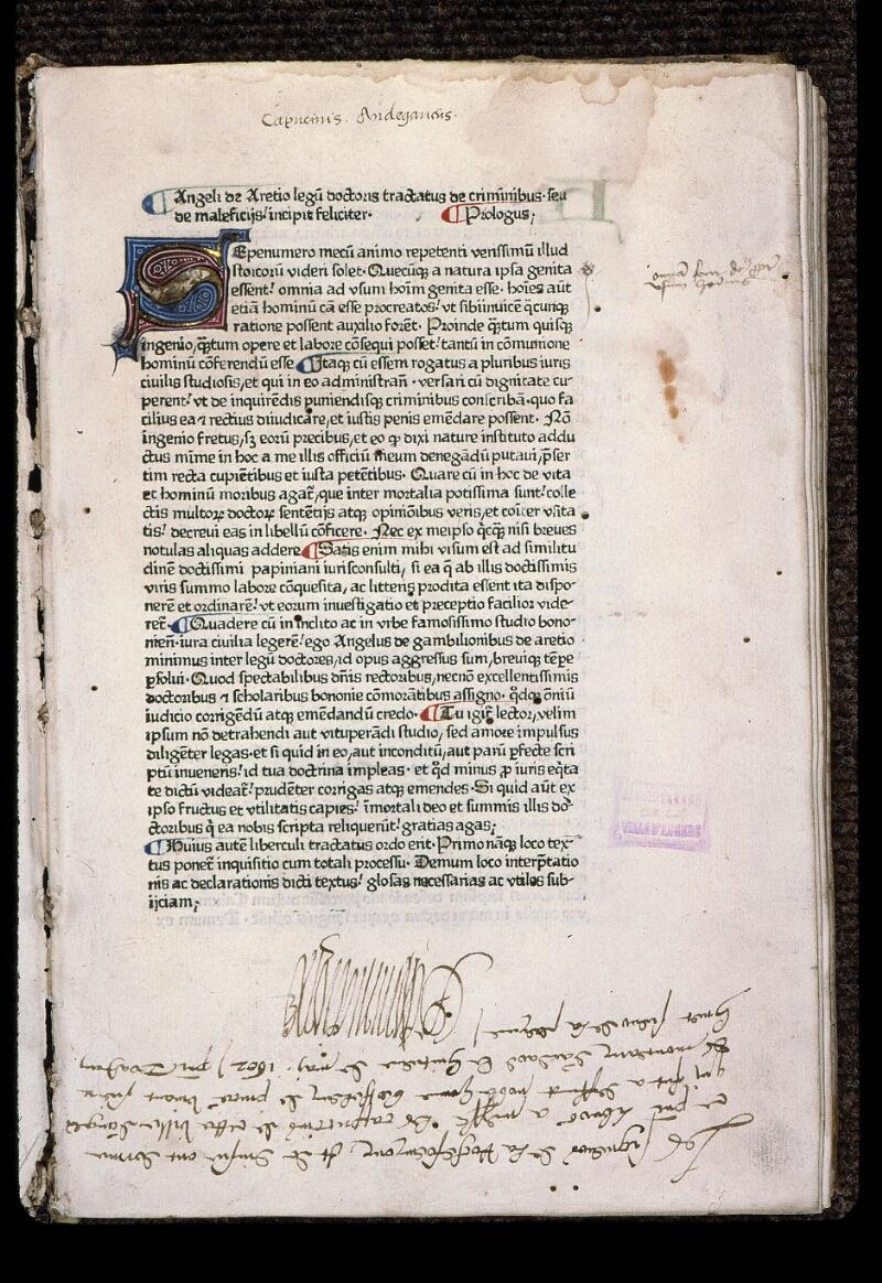 Angers, Bibl. mun., J 1161, f. 001 - vue 2