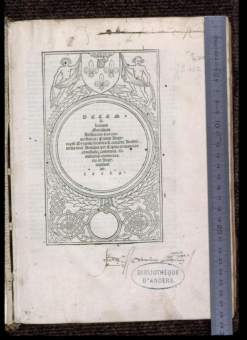 Angers, Bibl. mun., SA 0422, f. 001 - vue 1