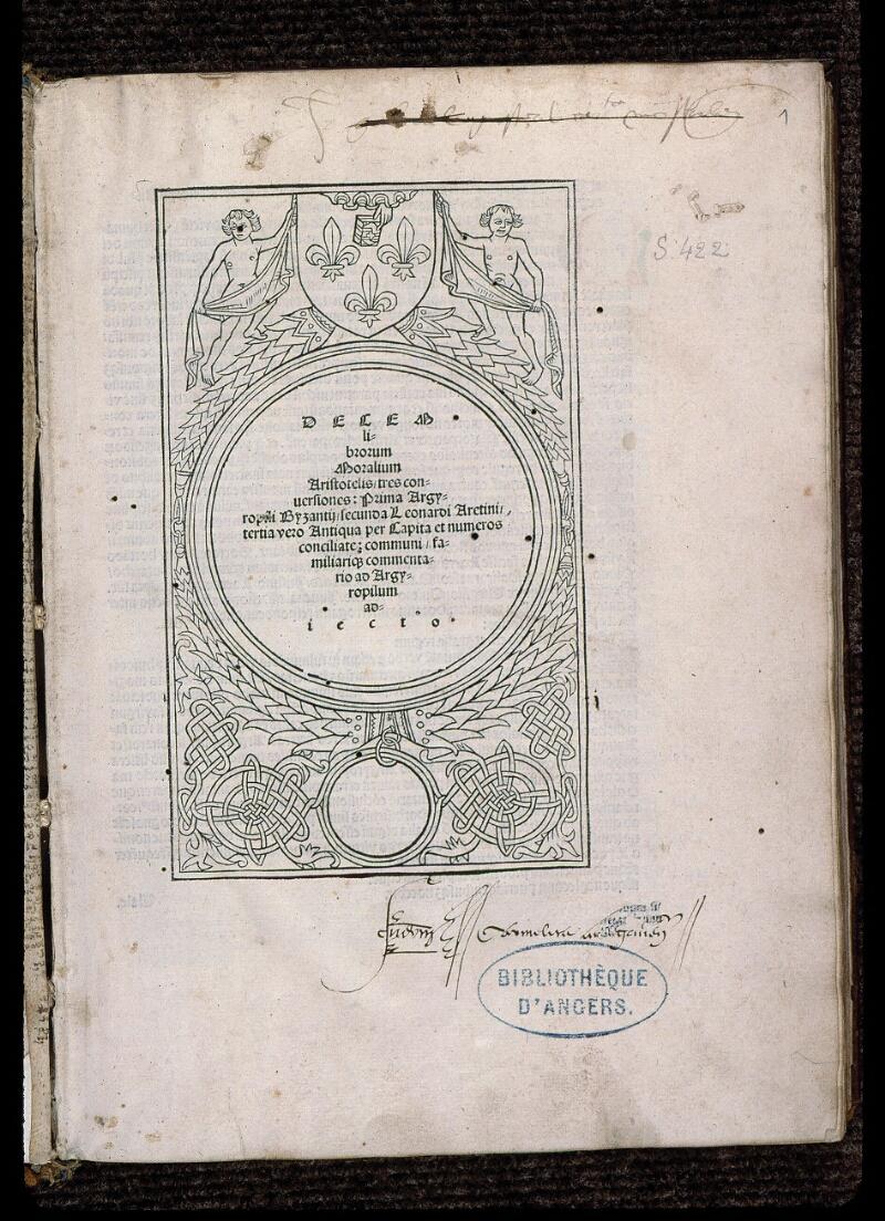 Angers, Bibl. mun., SA 0422, f. 001 - vue 2