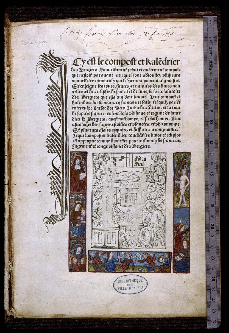 Angers, Bibl. mun., SA 3390, f. 001 - vue 1