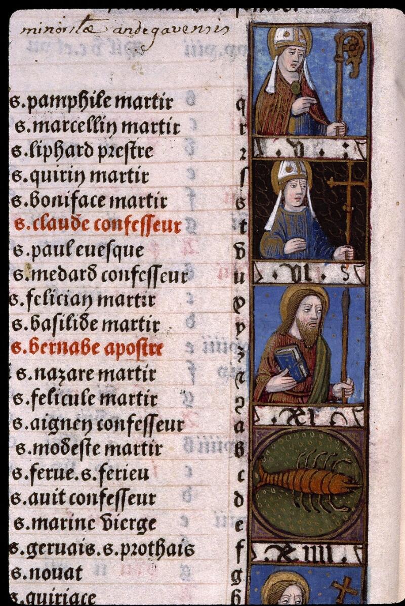 Angers, Bibl. mun., SA 3390, f. 011v - vue 2