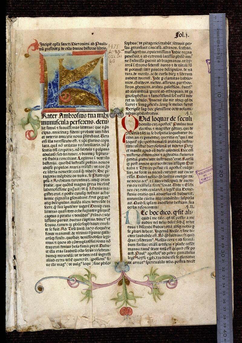 Angers, Bibl. mun., T 0095, f. 001 - vue 1