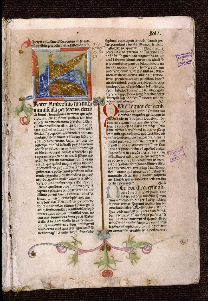 Angers, Bibl. mun., T 0095, f. 001 - vue 2
