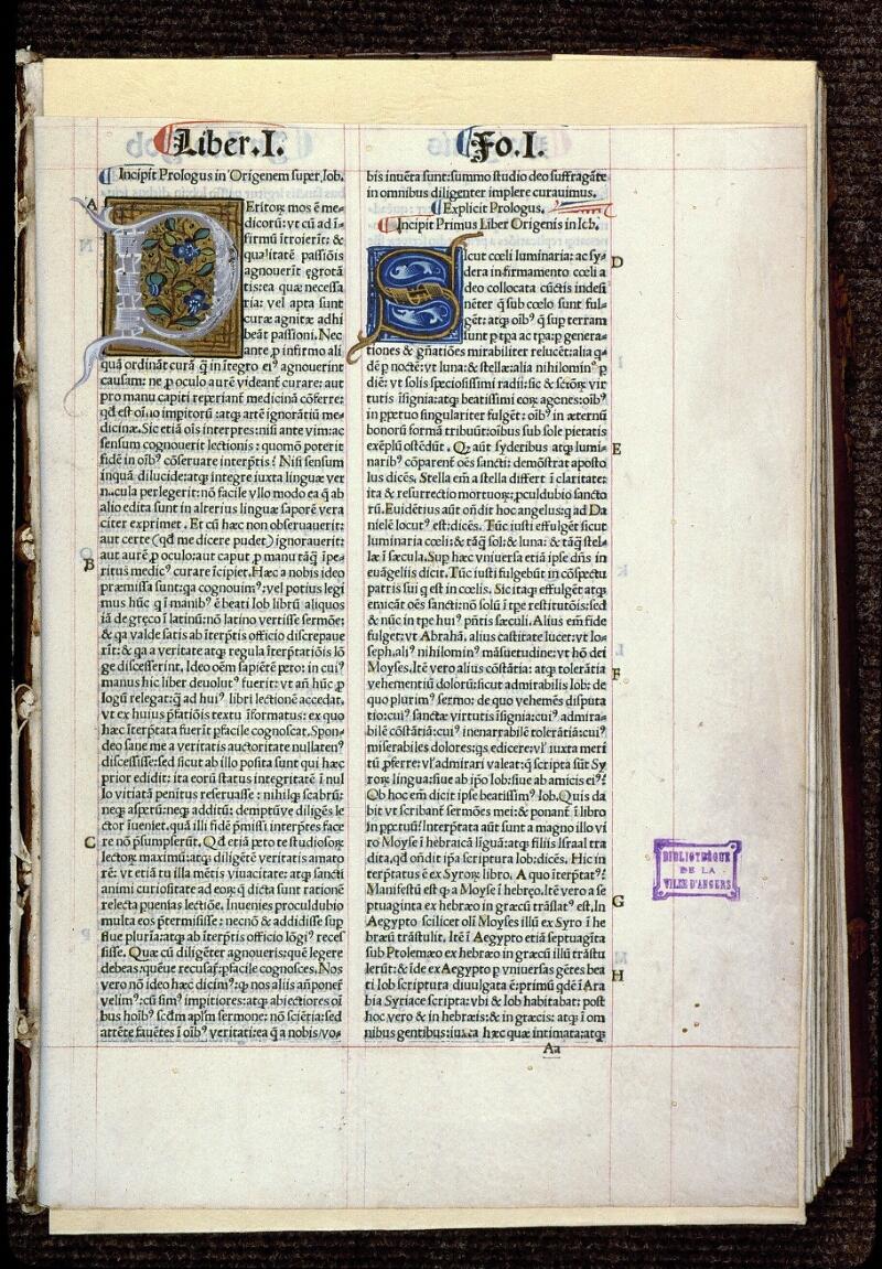Angers, Bibl. mun., T 0644, t. I, f. 001 - vue 2