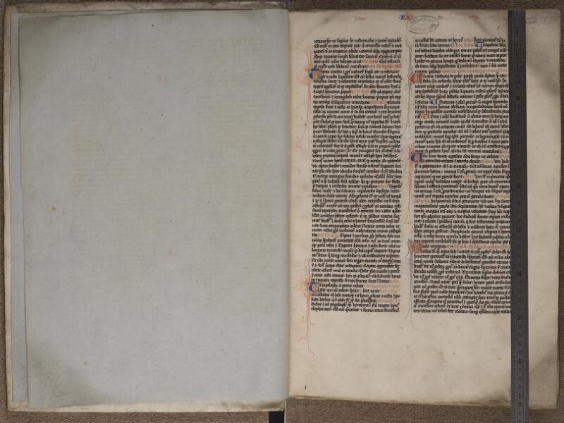 ARRAS, Bibliothèque municipale, 0008 (0795), garde verso - f. 001r avec réglet