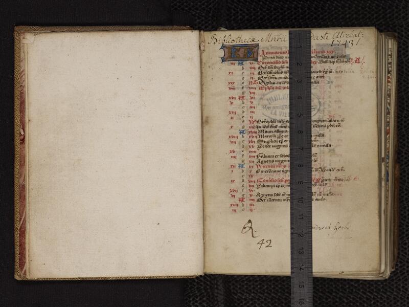 ARRAS, Bibliothèque municipale, 0393 (0550), gardeC v - 001 r avec reglé