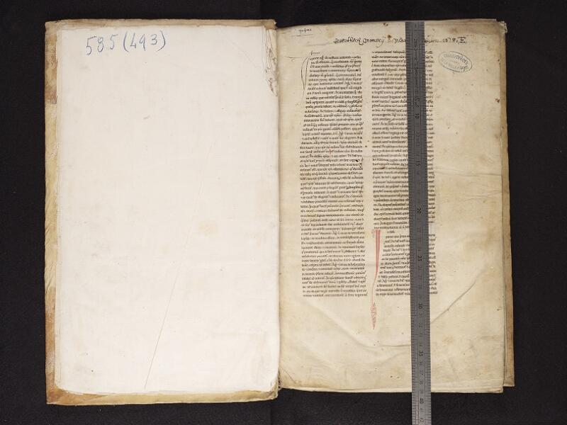 ARRAS, Bibliothèque municipale, 0493 (0585), garde - f. 001r  avec réglet