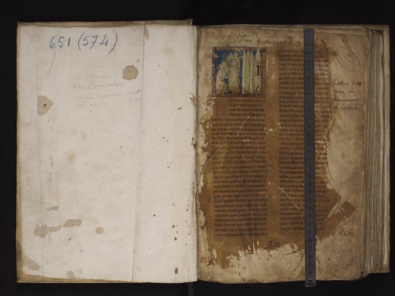 ARRAS, Bibliothèque municipale, 0574 (0651), garde - f. 001r avec réglet